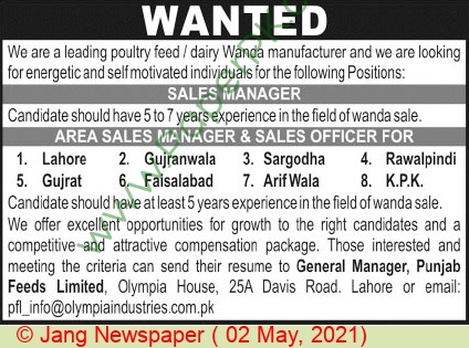 Olympia Chemicals Limited jobs newspaper ad for Sales Manager in Lahore on 2021-05-02
