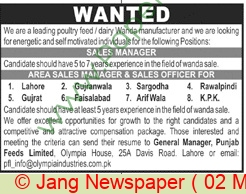 Punjab Feeds Limited jobs newspaper ad for Sales Manager in Lahore on 2021-05-02