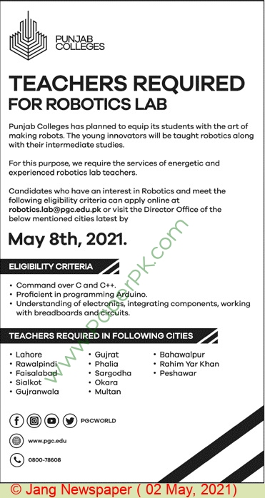 Punjab Group Of Colleges jobs newspaper ad for Teacher in Lahore on 2021-05-02
