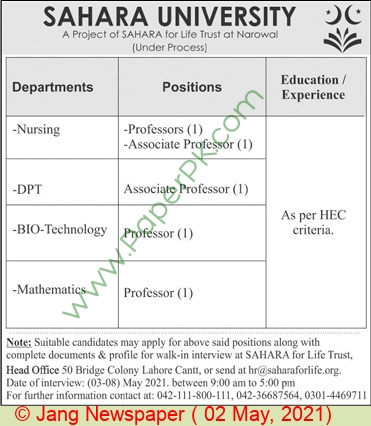 Sahara University jobs newspaper ad for Professor in Lahore on 2021-05-02