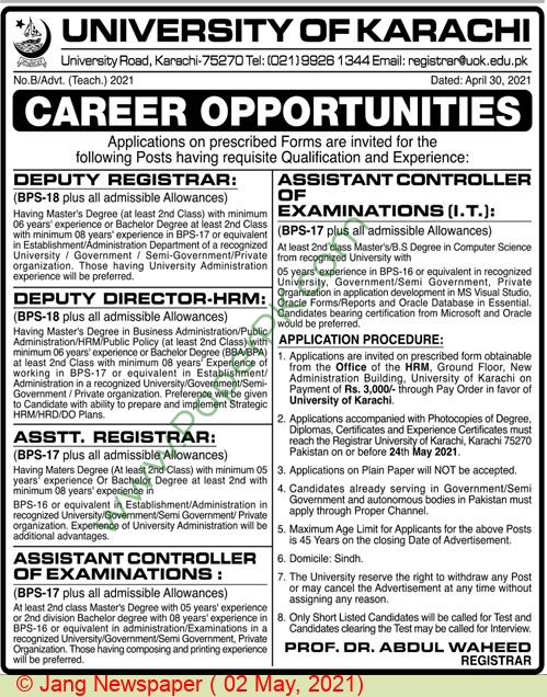 University Of Karachi jobs newspaper ad for Deputy Registrar in Karachi on 2021-05-02