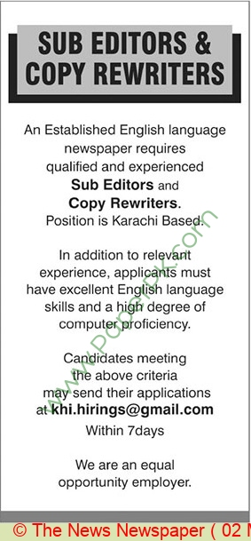 Karachi Based Company jobs newspaper ad for Sub Editor in Karachi on 2021-05-02