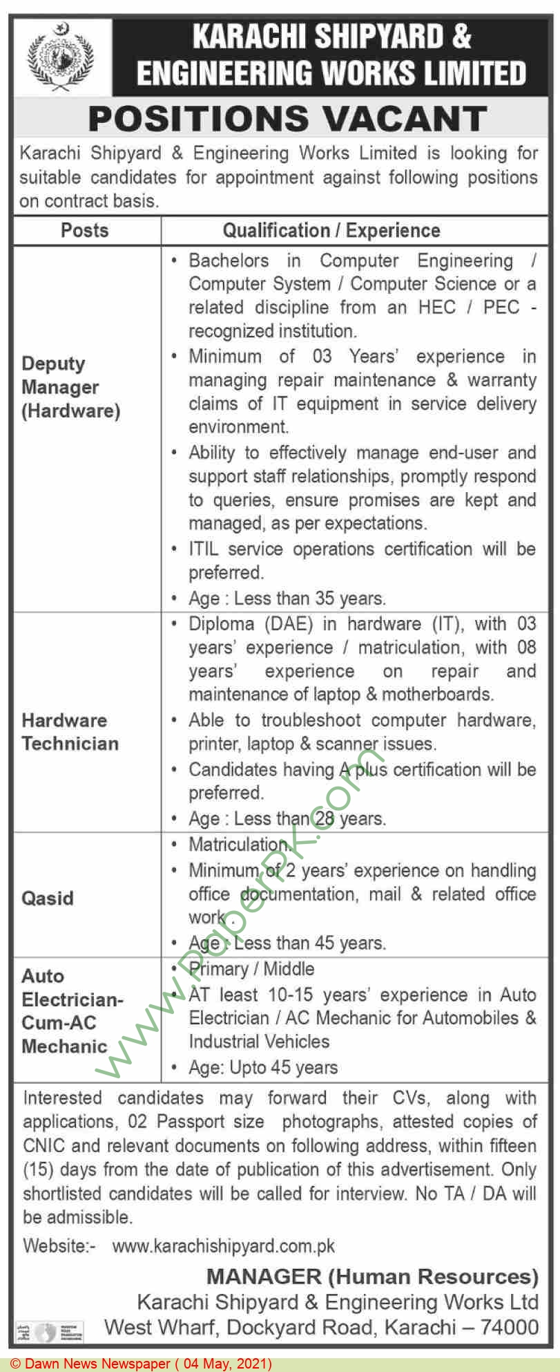 Karachi Shipyard & Engineering Works Limited jobs newspaper ad for Auto Electrician in Karachi on 2021-05-04