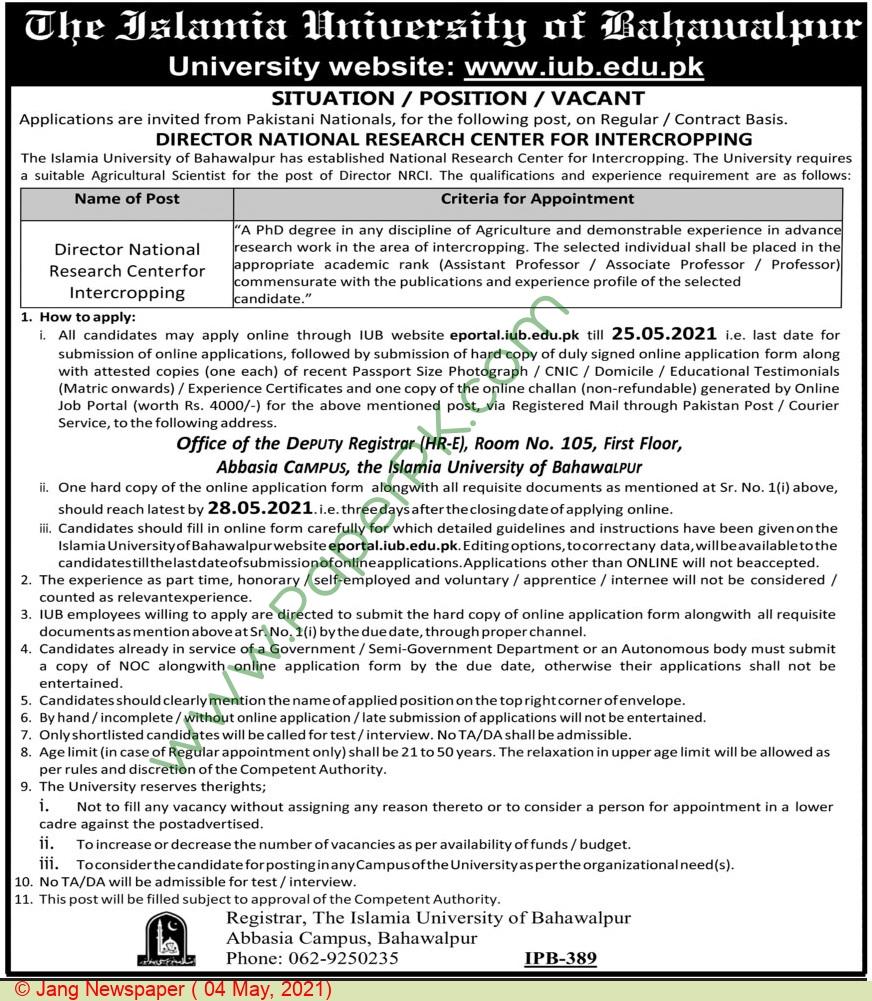 The Islamia University Of Bahawalpur jobs newspaper ad for Director in Bahawalpur on 2021-05-04