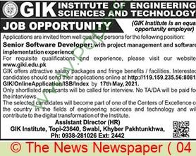Ghulam Ishaq Khan Institute Of Engineering Sciences & Technology jobs newspaper ad for Senior Software Developer in Swabi on 2021-05-04