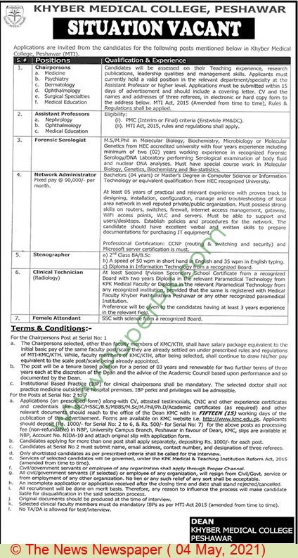 Khyber Medical College jobs newspaper ad for Chairperson in Peshawar on 2021-05-04