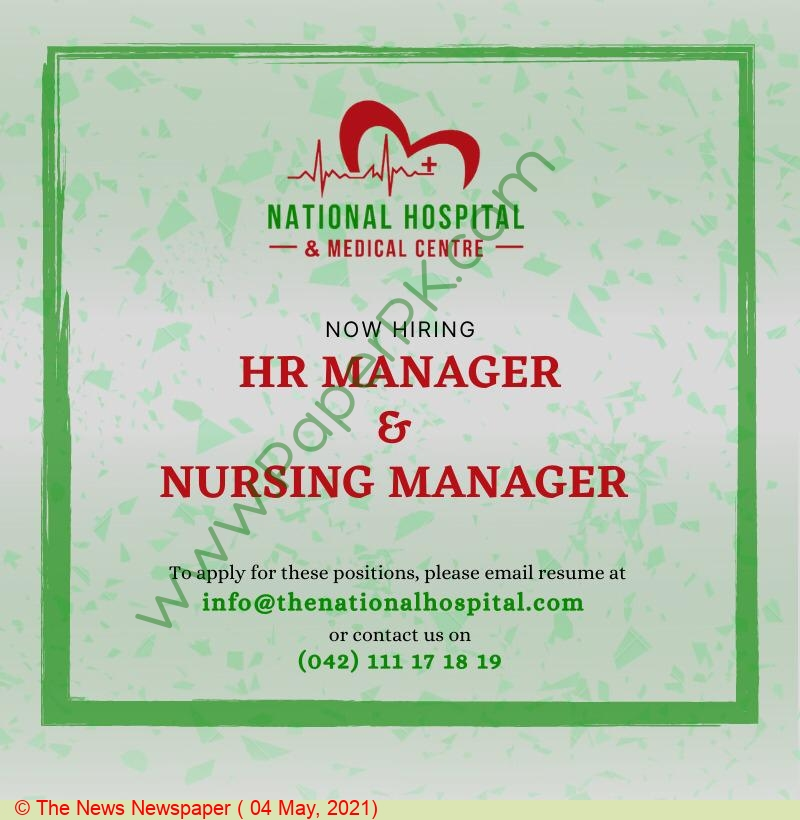 National Hospital & Medical Centre jobs newspaper ad for Human Resource Manager in Lahore on 2021-05-04