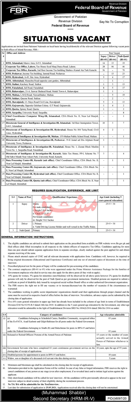 Federal Board Of Revenue jobs newspaper ad for Naib Qasid in Islamabad on 2021-05-09