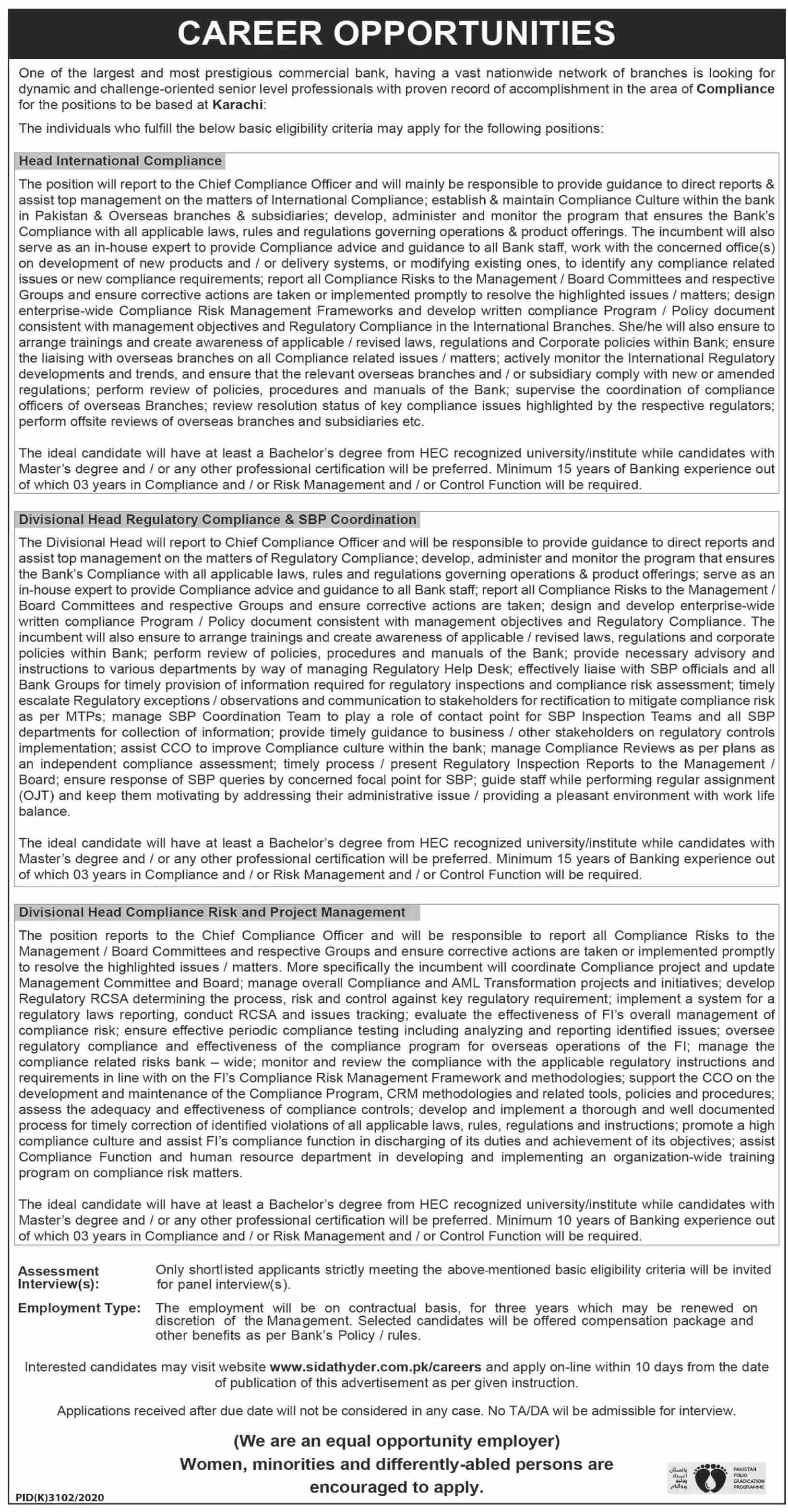 Sidat Hyder Morshed Associates Private Limited jobs newspaper ad for Head International Compliance in Karachi on 2021-05-16