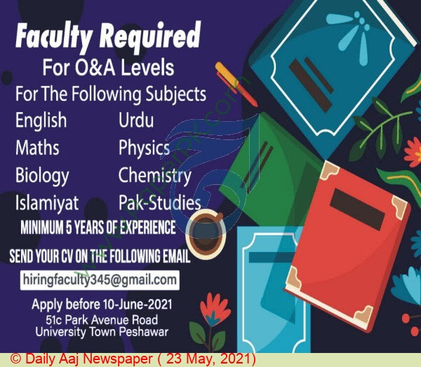 Faculty Staff jobs in Peshawar at Pakistan Based Company ...