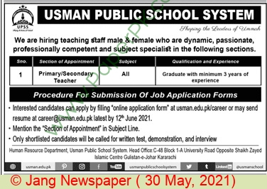 Usman Public School System jobs newspaper ad for Teacher in Karachi on 2021-05-30