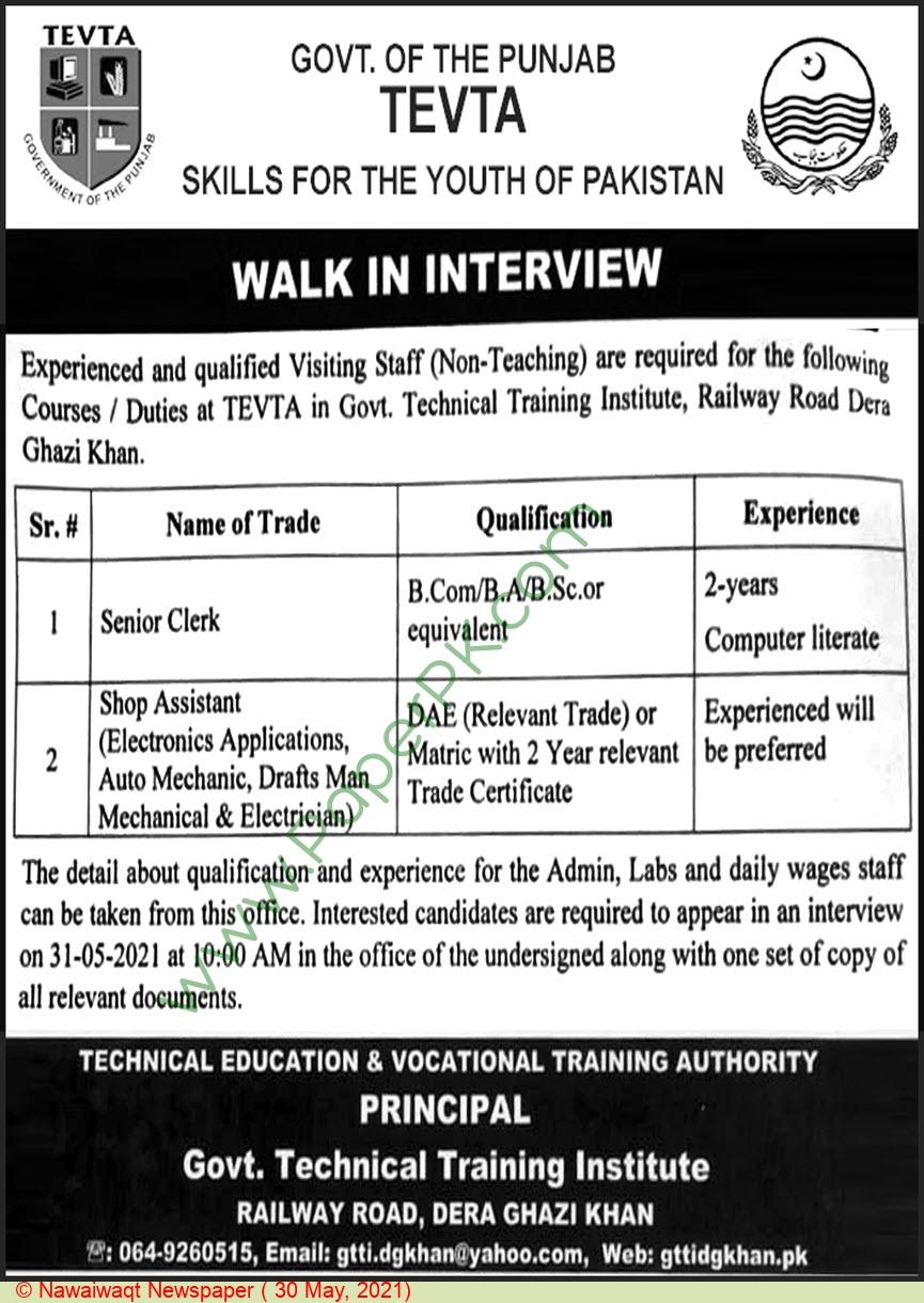 Technical Education & Vocational Training Authority jobs newspaper ad for Senior Clerk in Dera Ghazi Khan, Ghazi on 2021-05-30