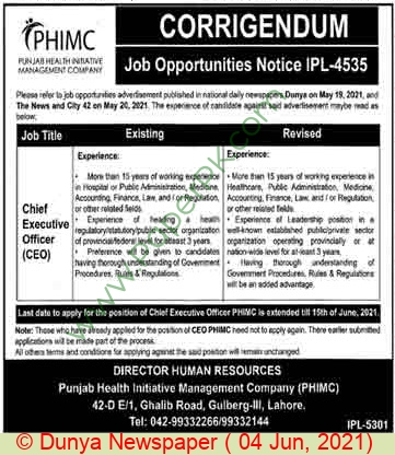 Punjab Health Initiative Management Company jobs newspaper ad for Chief Executive Officer in Lahore on 2021-06-04