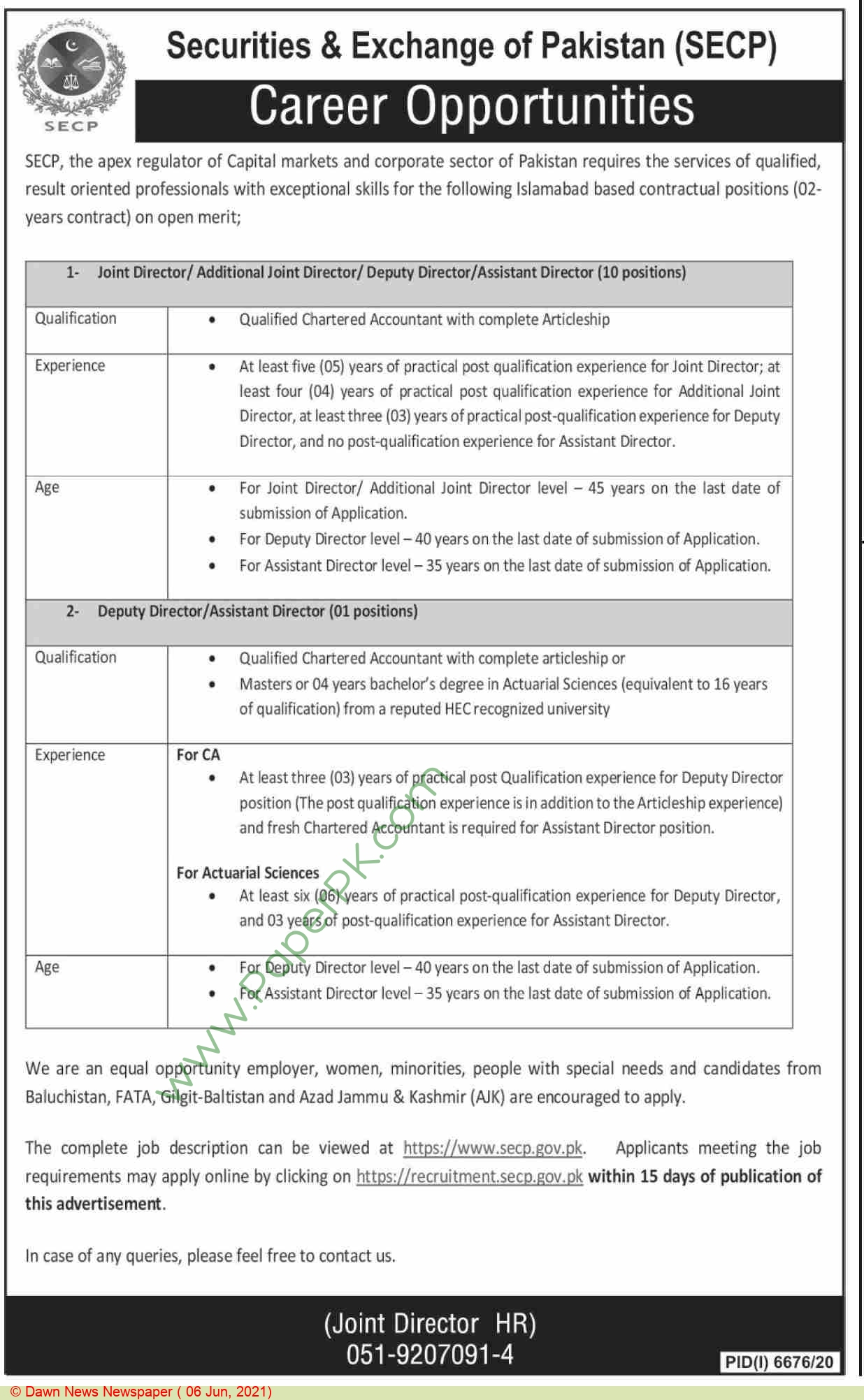 Securities & Exchange Commission Of Pakistan jobs newspaper ad for Joint Director in Islamabad on 2021-06-06