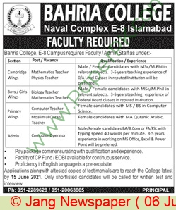 Bahria College jobs newspaper ad for Faculty Staff in Islamabad on 2021-06-06