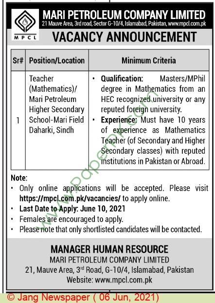 Mari Petroleum Company Limited jobs newspaper ad for Teacher in Islamabad on 2021-06-06