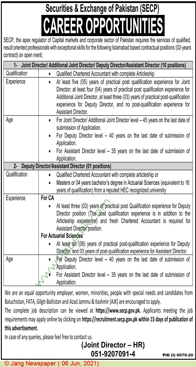 Securities & Exchange Commission Of Pakistan jobs newspaper ad for Director in Islamabad on 2021-06-06