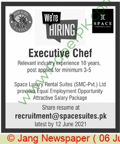 Islamabad Based Company jobs newspaper ad for Executive Chef in Islamabad on 2021-06-06