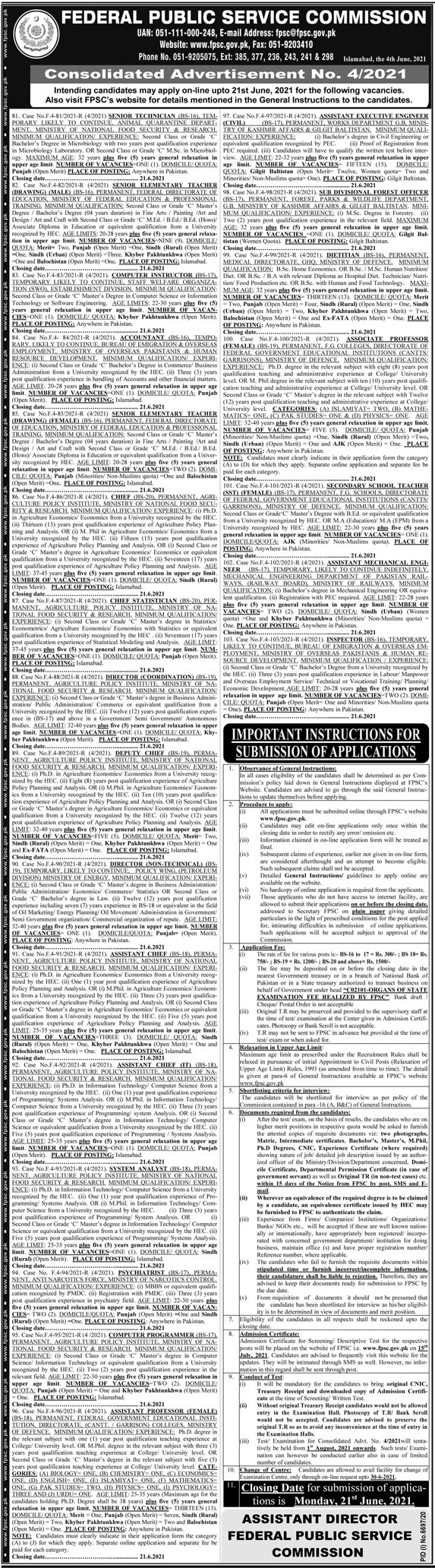 Ministry of National Food Security & Research jobs newspaper ad for Senior Technician in Islamabad on 2021-06-06