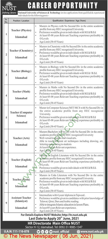 National University Of Sciences & Technology jobs newspaper ad for Teacher in Islamabad on 2021-06-06