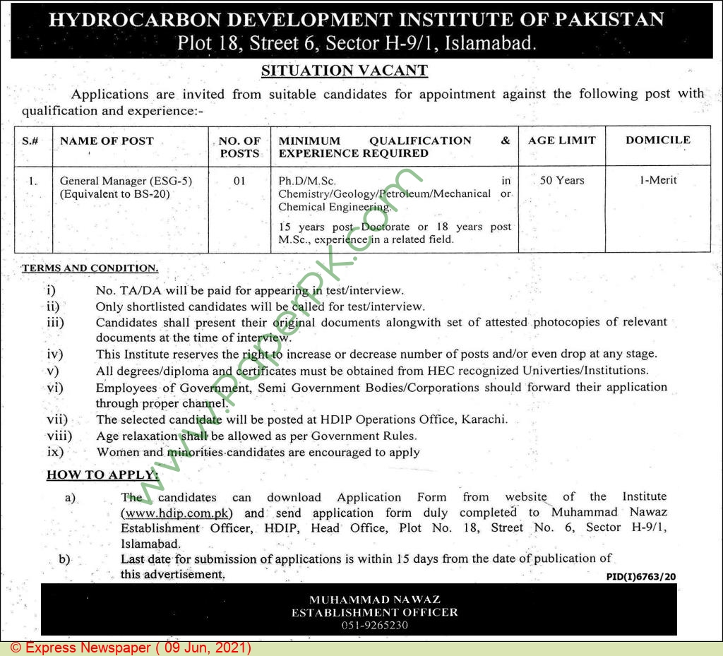 Hydrocarbon Development Institute Of Pakistan jobs newspaper ad for General Manager in Islamabad on 2021-06-09