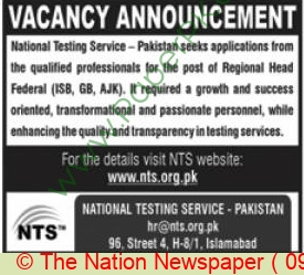 National Testing Service jobs newspaper ad for Regional Head Federal in Islamabad on 2021-06-09