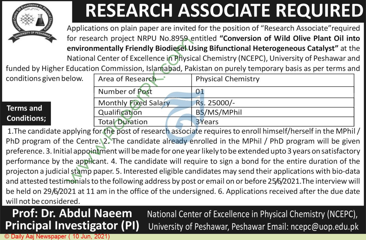 National Center Of Excellence In Physical Chemistry jobs newspaper ad for Research Associate in Peshawar on 2021-06-10