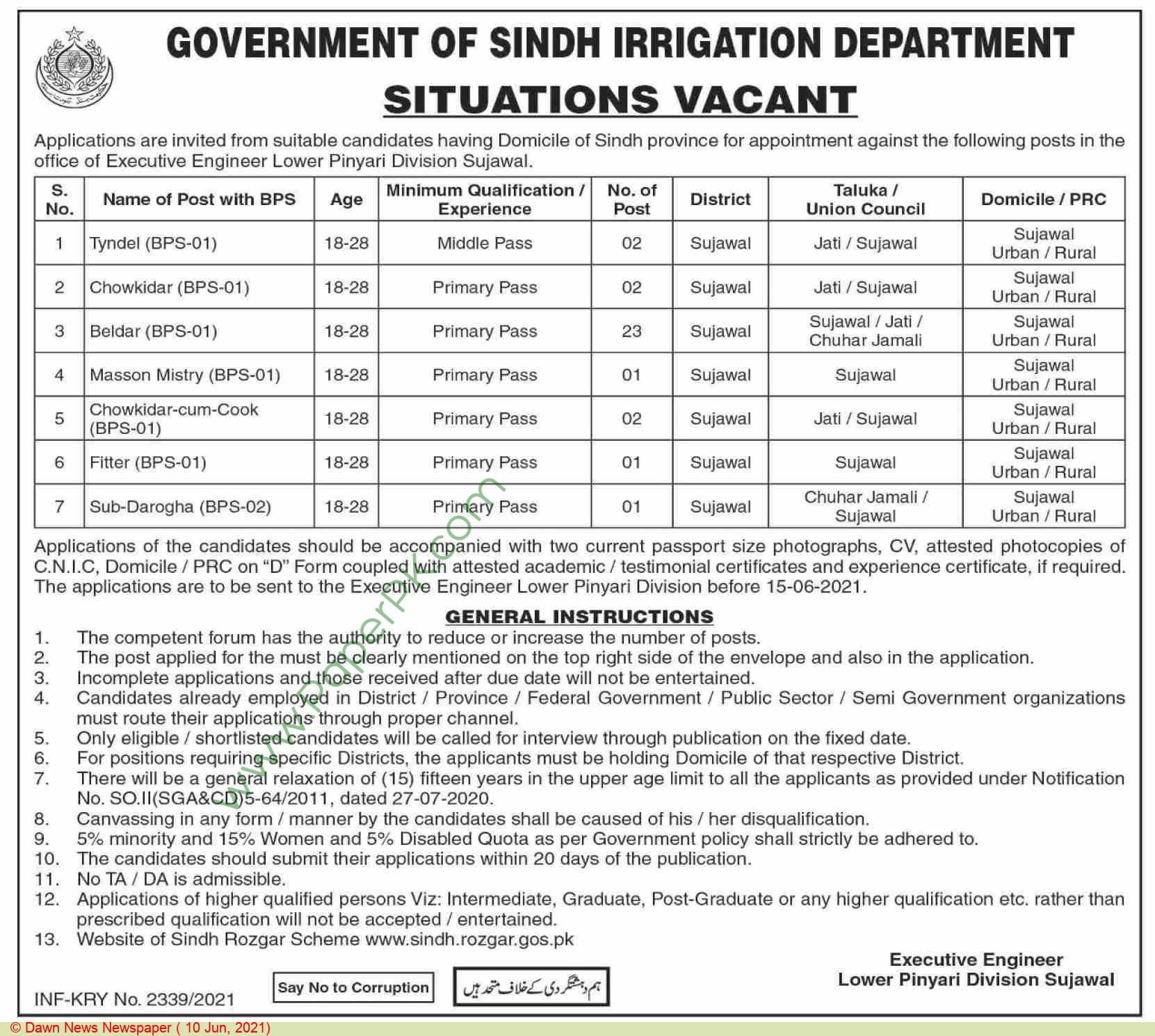 Irrigation Department jobs newspaper ad for Mason in Sujawal on 2021-06-10