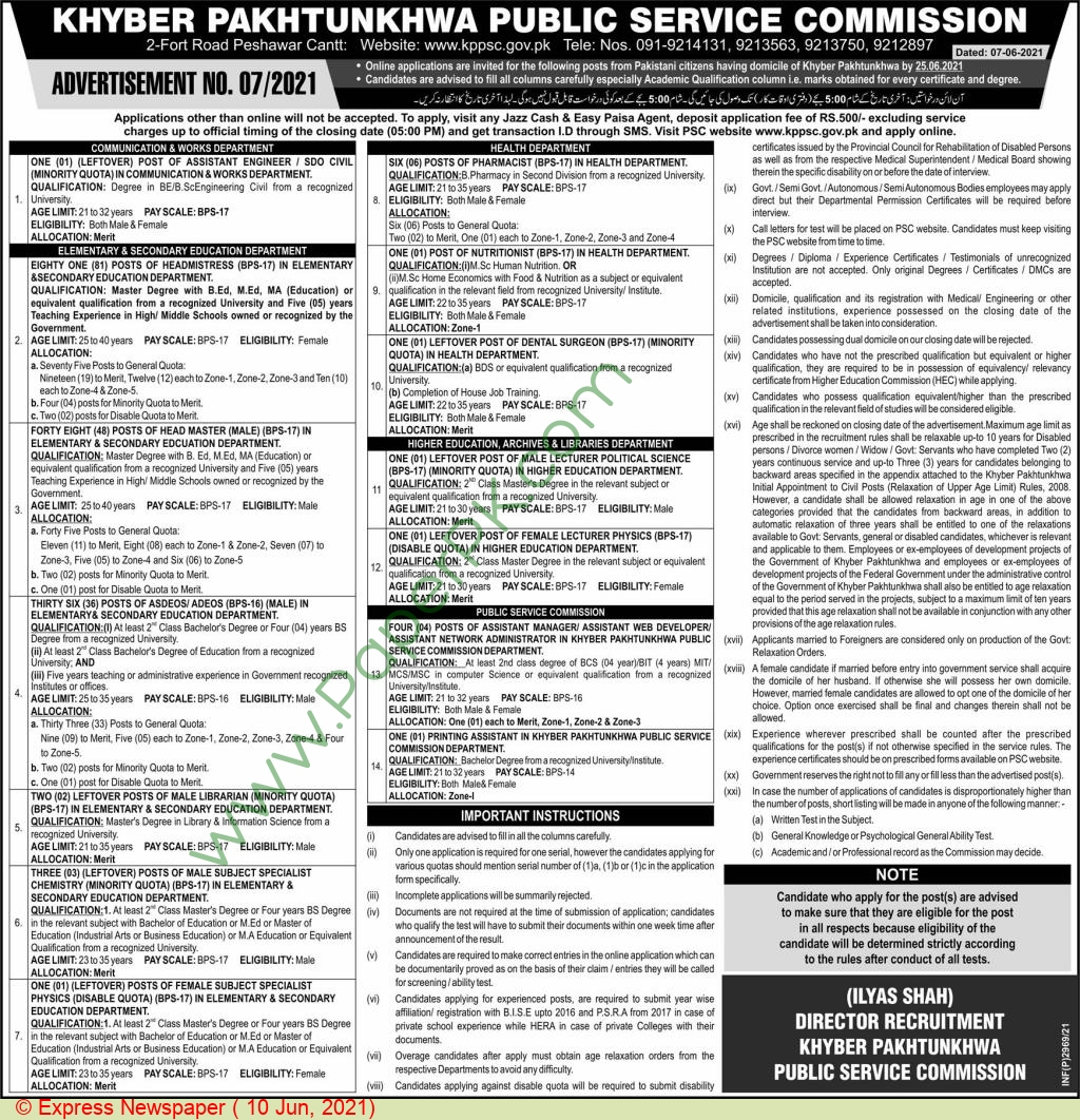 Health Department jobs newspaper ad for Pharmacist in Peshawar on 2021-06-10