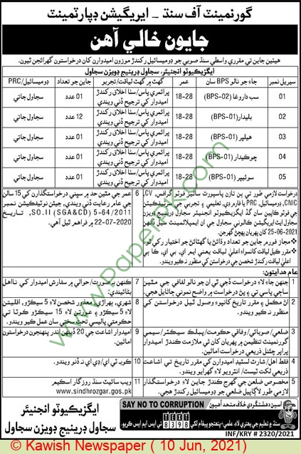 Irrigation Department jobs newspaper ad for Darogha in Sujawal on 2021-06-10