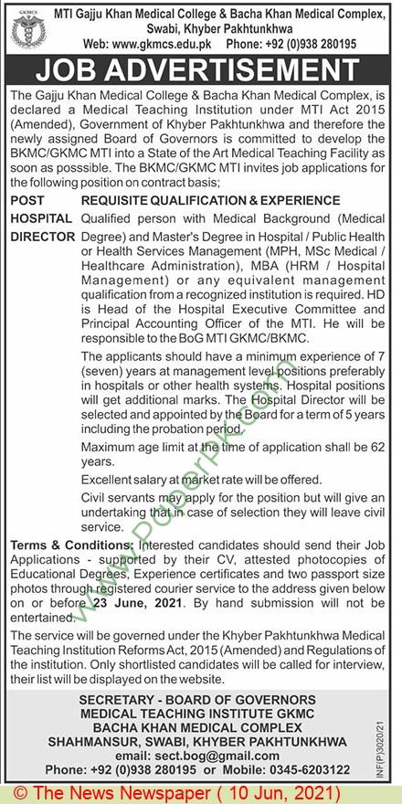 Gajju Khan Medical College jobs newspaper ad for Hospital Director in Swabi on 2021-06-10