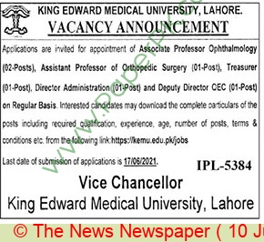 King Edward Medical University jobs newspaper ad for Associate Professor in Lahore on 2021-06-10