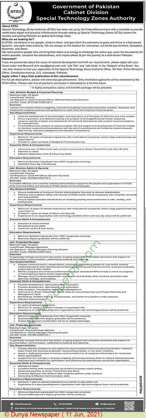 Special Technology Zones Authority jobs newspaper ad for Project Manager in Islamabad on 2021-06-11
