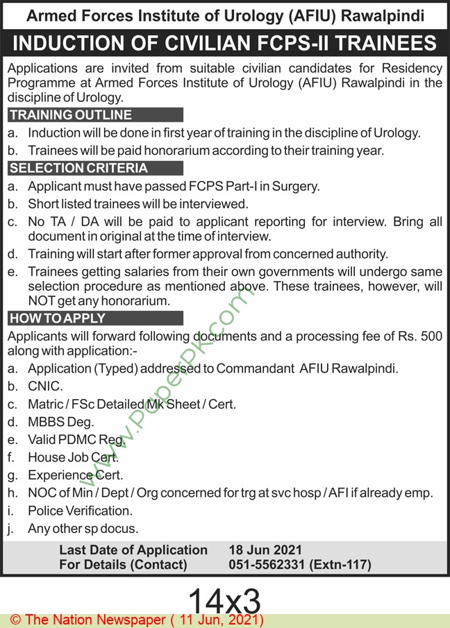 Armed Forces Institute Of Urology jobs newspaper ad for Trainee in Rawalpindi on 2021-06-11