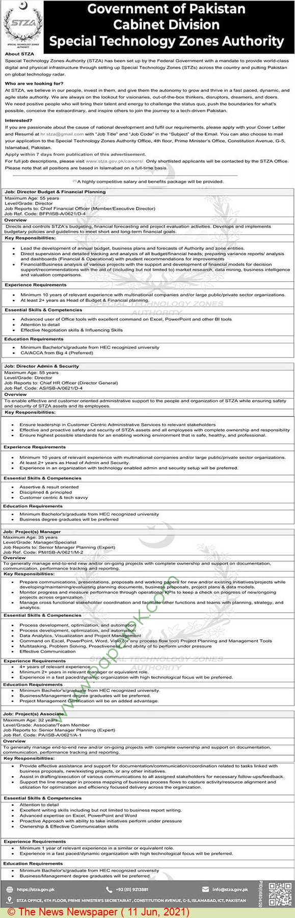 Special Technology Zones Authority jobs newspaper ad for Director in Islamabad on 2021-06-11