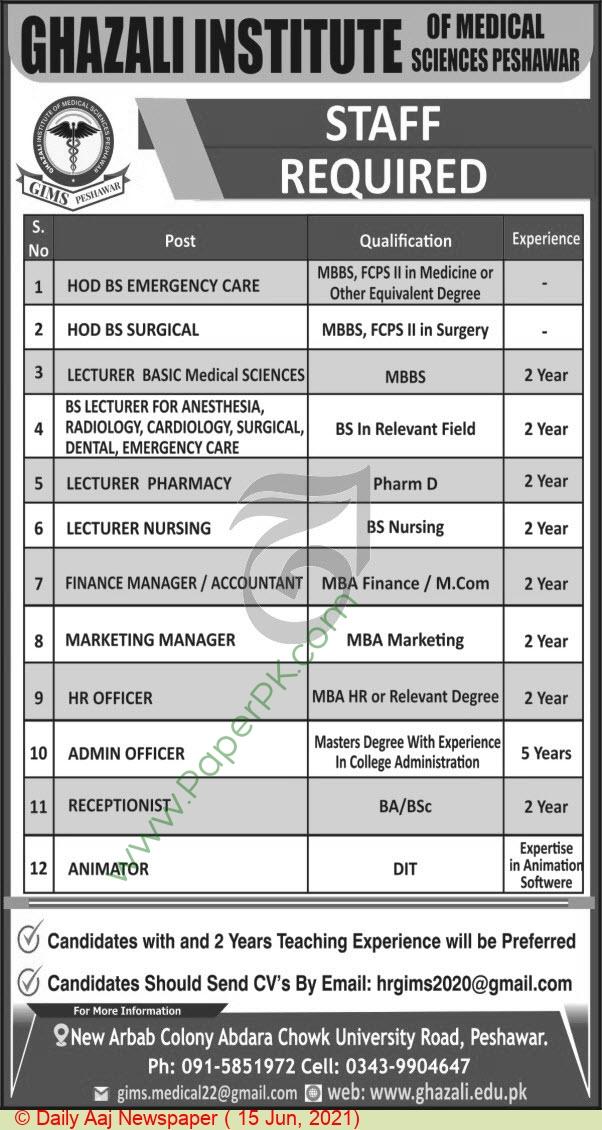 Ghazali Institute Of Medical Sciences jobs newspaper ad for Lecturer in Peshawar on 2021-06-15