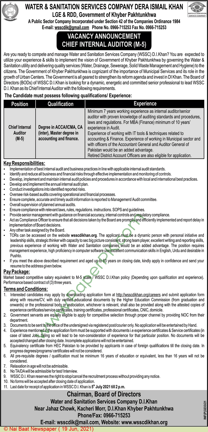 Water & Sanitation Services Company jobs newspaper ad for Chief Internal Auditor in Dera Ismail Khan on 2021-06-19