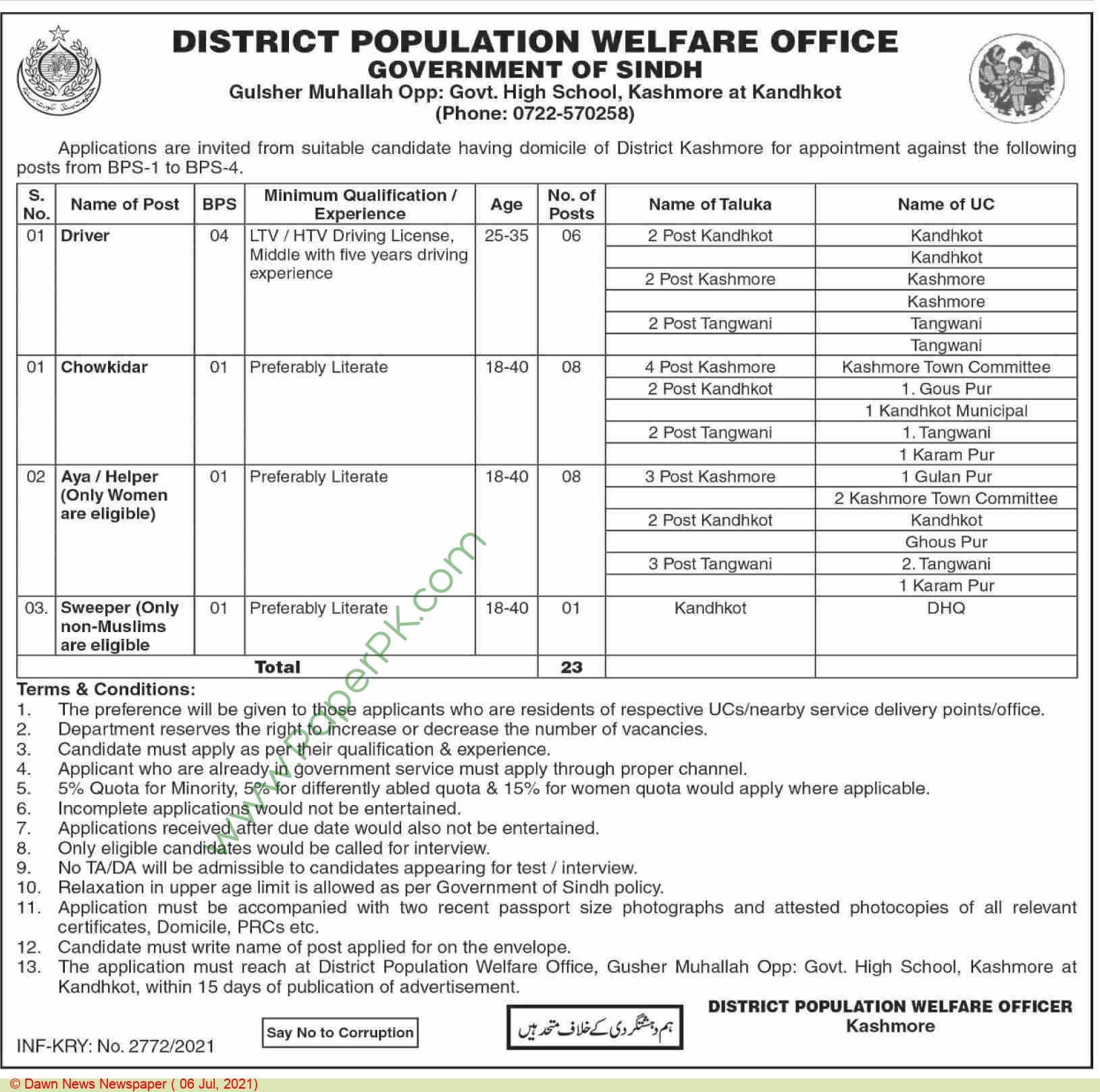 District Population Welfare Office jobs newspaper ad for Driver in Kashmor on 2021-07-06