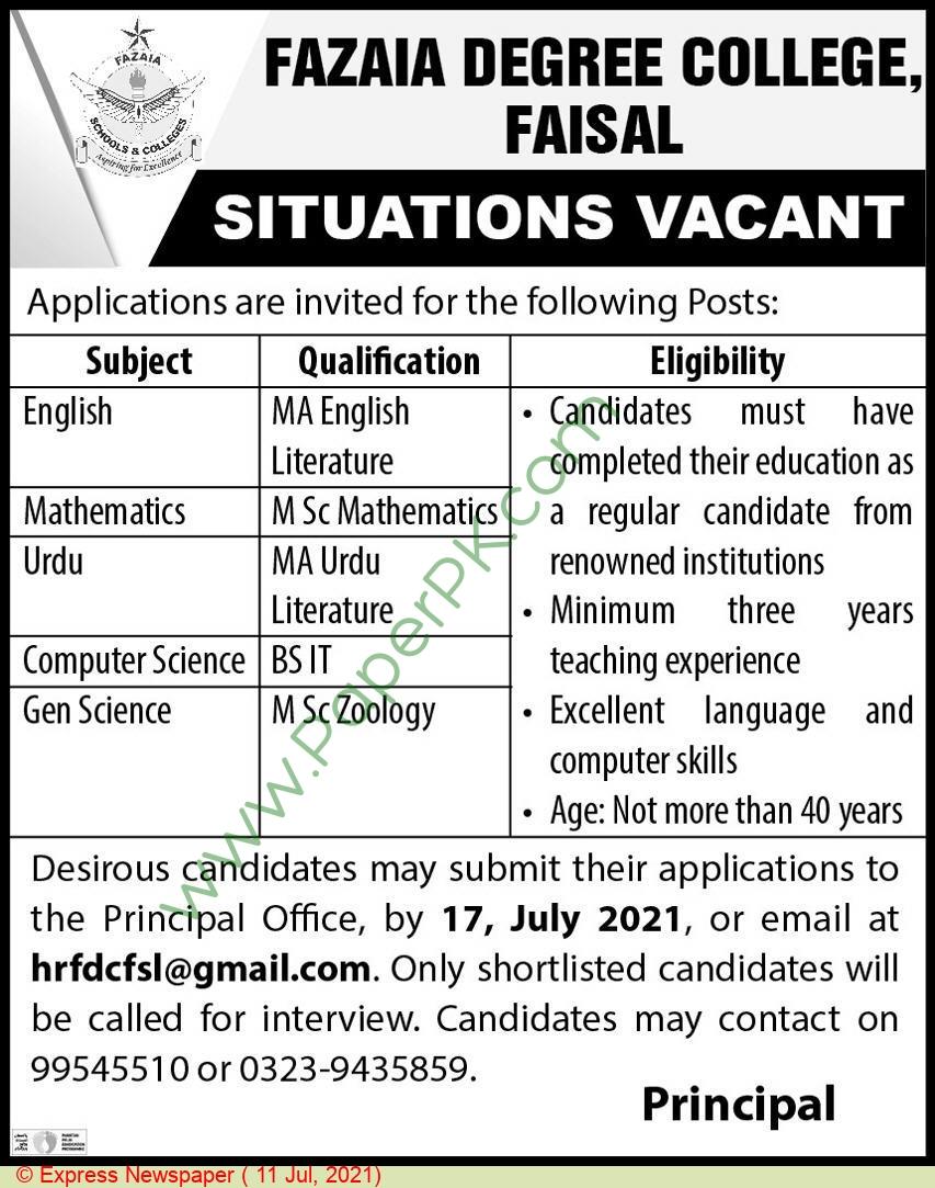 Fazaia Degree College jobs newspaper ad for Teacher in Karachi on 2021-07-11