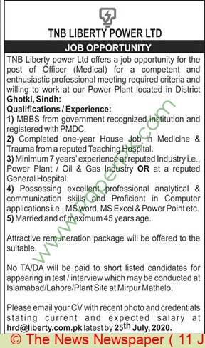 Tnb Liberty Power Limited jobs newspaper ad for Medical Officer in Ghotki on 2021-07-11