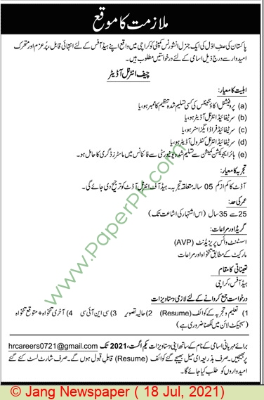 General Insurance Company jobs newspaper ad for Chief Internal Auditor in Karachi on 2021-07-18
