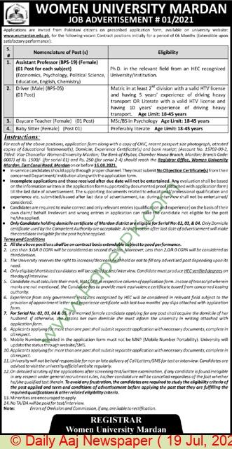 The Government Sadiq College Women University jobs newspaper ad for Daycare Teacher in Mardan on 2021-07-19