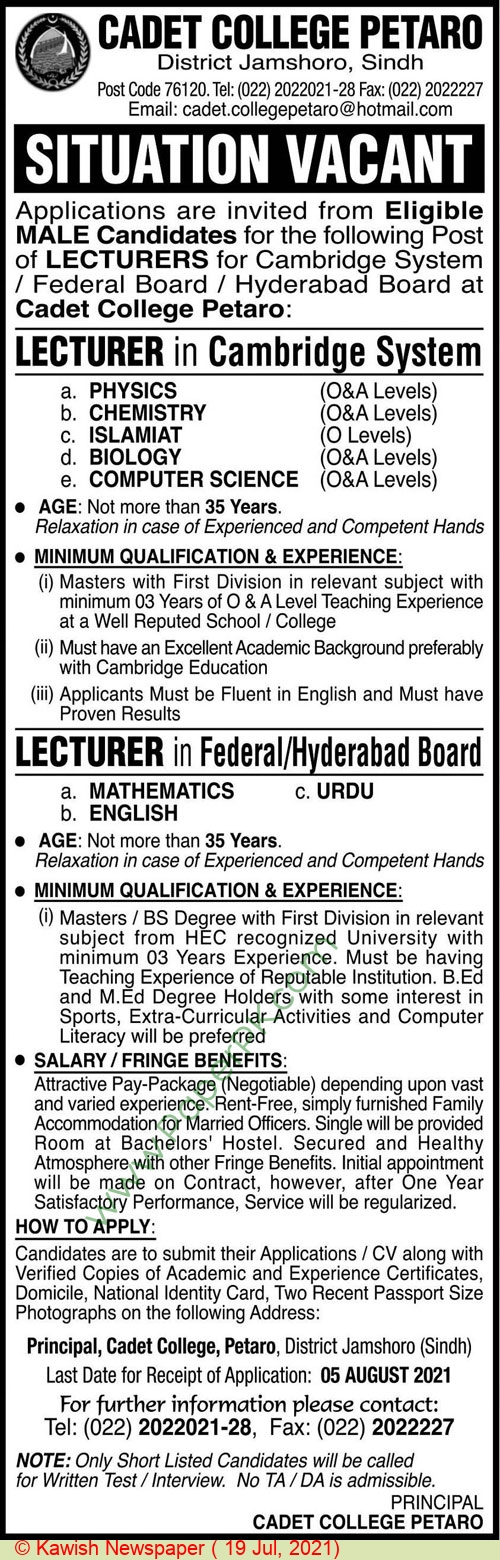 Cadet College jobs newspaper ad for Lecturer in Jamshoro on 2021-07-19