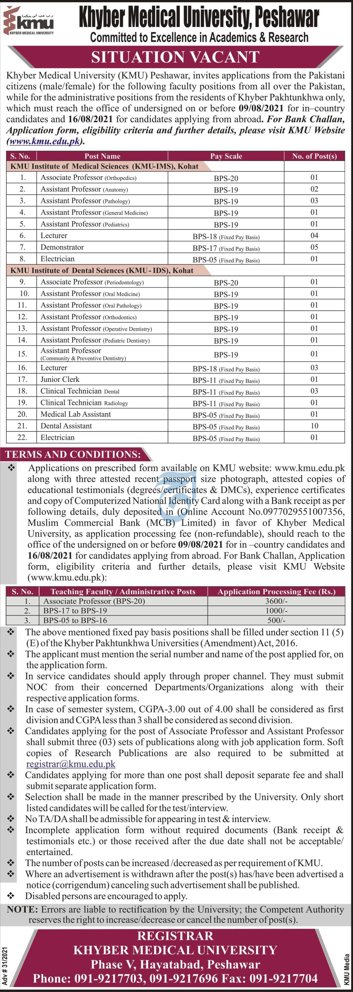 Khyber Medical University jobs newspaper ad for Associate Professor in Peshawar on 2021-07-20