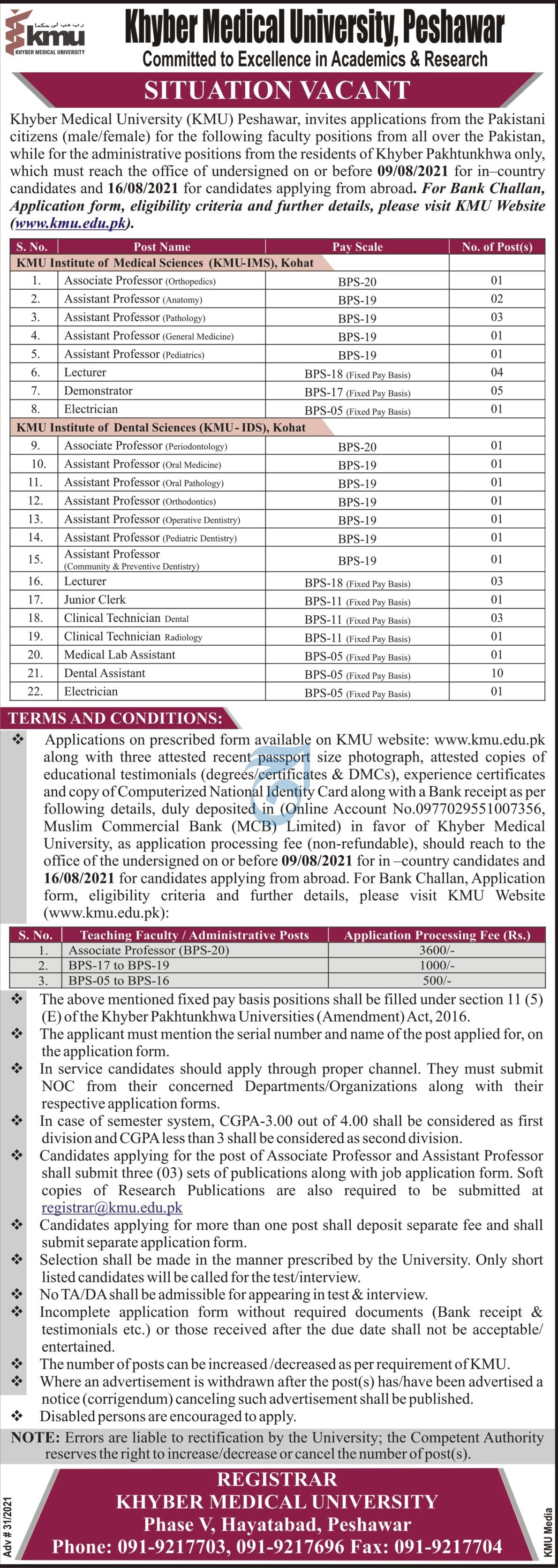 Khyber Medical University jobs newspaper ad for Lecturer in Peshawar on 2021-07-20