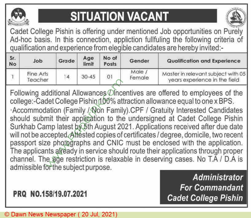 Cadet College jobs newspaper ad for Teacher in Pishin on 2021-07-20