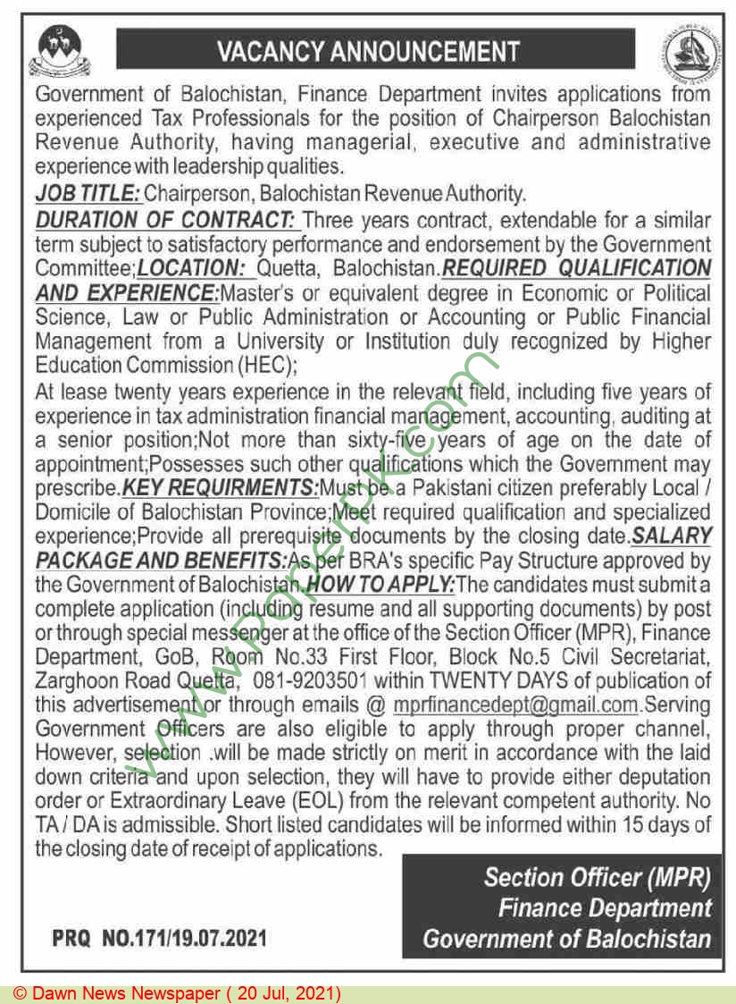Finance Department jobs newspaper ad for Chairperson in Quetta on 2021-07-20
