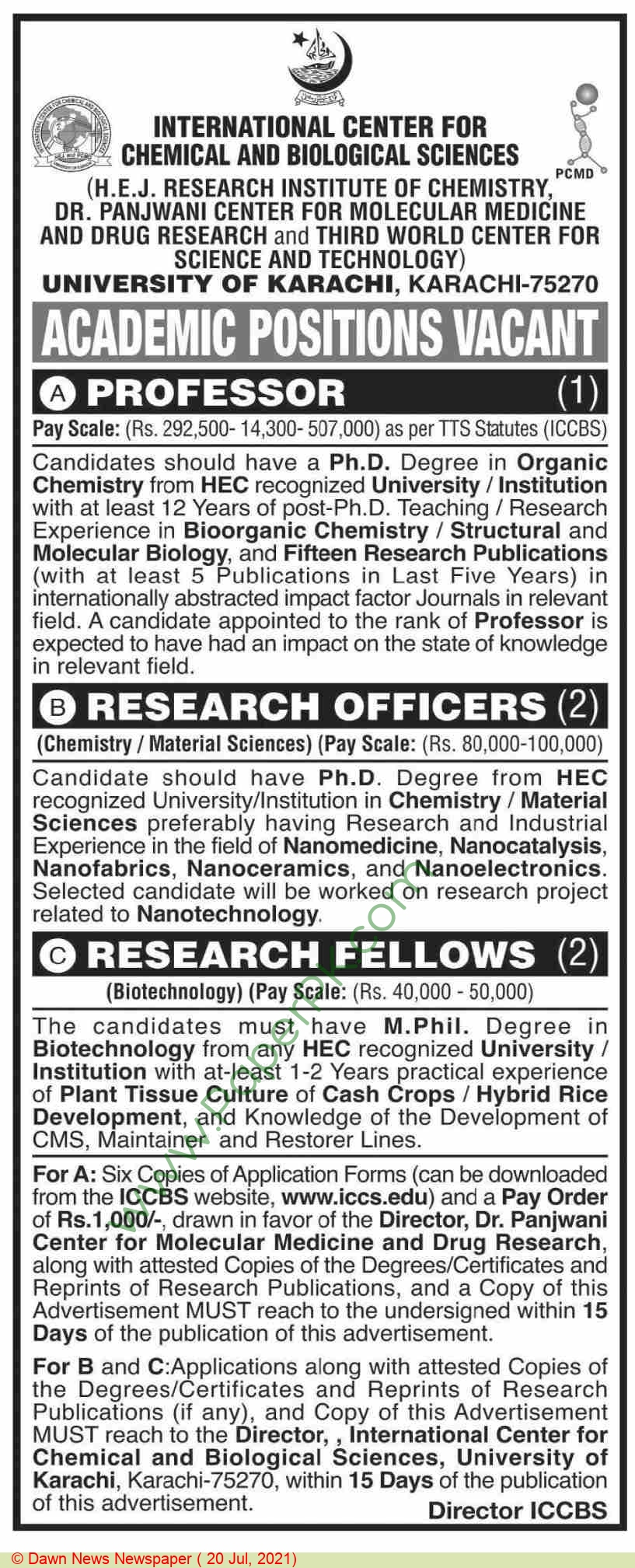 International Center For Chemical & Biological Sciences jobs newspaper ad for Research Fellow in Karachi on 2021-07-20