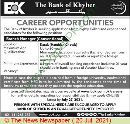 The Bank Of Khyber jobs newspaper ad for Branch Manager in Peshawar on 2021-07-20