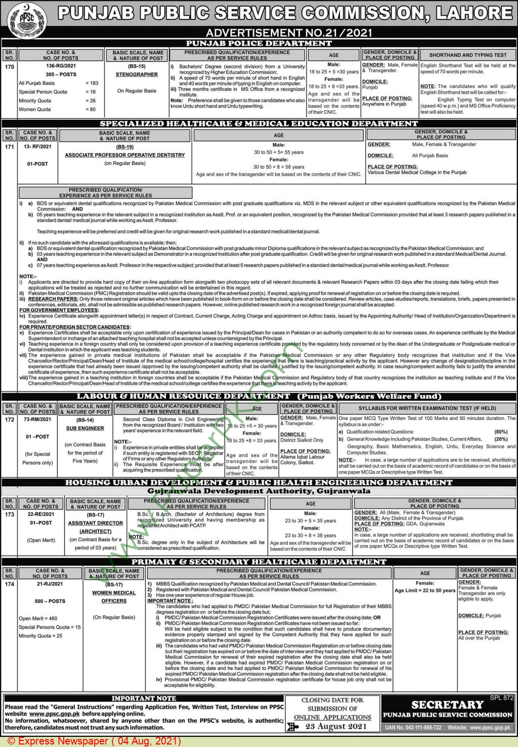 Primary & Secondary Healthcare Department jobs newspaper ad for Women Medical Officer in Lahore on 2021-08-04